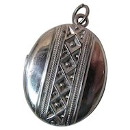 Antique Sterling Silver Photo Locket With Photos
