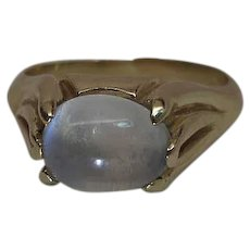 14K Yellow Gold 2.6 Carat Moonstone Ring With Organic Art Nouveau Setting
