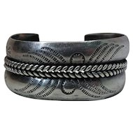 Vintage Native American Hand Stamped Silver Cuff Bracelet Signed X = O