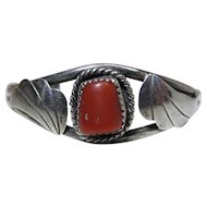 Vintage Navajo Henry Sam Sterling Silver And Coral Cuff Bracelet