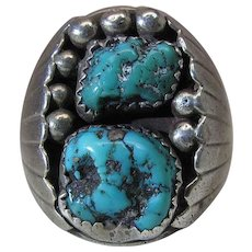 Chunky Vintage Navajo Sterling Silver And Turquoise Shadowbox Ring Size 12