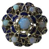 Vintage Enameled 14K Gold Opal Cluster Moghul / Harem Ring