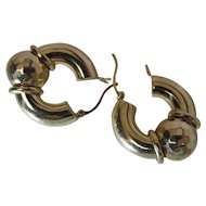 Vintage Hammered 14K Yellow Gold Door Knocker Earrings
