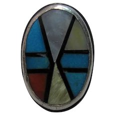 Fine Vintage Zuni Stone To Stone Inlaid And Stamped Ingot Silver Ring 30.7 Grams