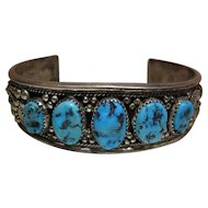 Unusually Intricate Vintage Navajo Silver And Turquoise Cuff Bracelet