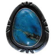 Hand Made Vintage Navajo Silver And Turquoise Ring Signed 1A size 12.25