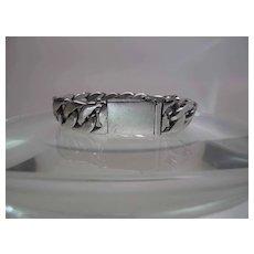 Heavy 8 1/4 Inch Vintage Sterling Silver Curb Chain Biker Bracelet - 100 Grams