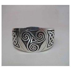 Heavy Vintage Sterling Silver Celtic Knot And Triskele Cuff Bracelet