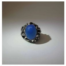 Vintage Sterling Silver And Chalcedony Brutalist / Modernist Ring Signed KAT