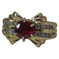 Stylish Retro Era 14K Gold Natural European Cut Ruby And Diamond Cocktail Ring