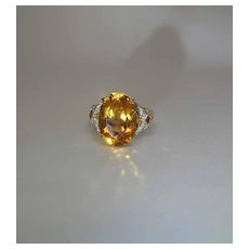 18K Yellow Gold Citrine Ruby And Diamond Cocktail Ring