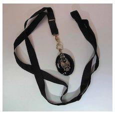 Antique Victorian Enameled Gold Filled Locket Necklace On Original Black Ribbon