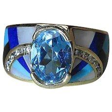 Maine Estate 14K Gold Gemstone Inlaid Ring With Graduated Diamonds & Blue Topaz