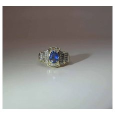 14K Yellow Gold Natural Blue Sapphire And Diamond Cocktail Ring
