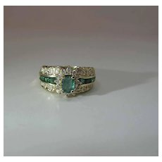 Sumptuous Vintage BH 14K Gold Natural Emerald And Diamond Cocktail Ring