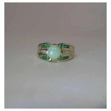 Vintage 14K Gold Jadeite, Emerald And Diamond Maine Estate Ring