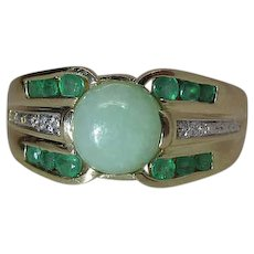 Vintage 14K Gold Jadeite, Emerald And Diamond Maine Estate Ring