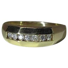 Vintage 14K yellow Gold And Diamond Band Style Ring