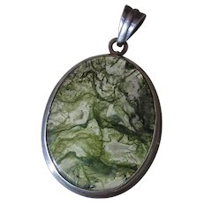 Vintage Early 20Th Century Sterling Silver And Moss Agate Pendant