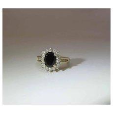 14K Yellow Gold Black Tourmaline And Diamond Halo Ring