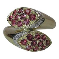 Vintage 14K Yellow Gold Natural Ruby And Diamond Bypass Style Snake Ring