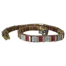 14K Yellow Gold 3.4 Carat Ruby And .6 Carat Diamond Line / Tennis Bracelet