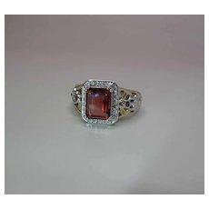 14K Yellow Gold Rhodolite Garnet, Ruby And Diamond Cocktail Ring