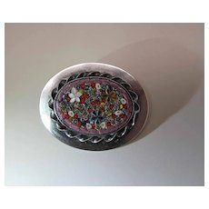 Lillian Pines Arts & Crafts Sterling Silver Micro-Mosaic Brooch / Pin