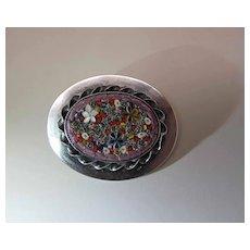 Lillian Pines Arts & Crafts Sterling Silver Micro-Mosaic Brooch / Pin