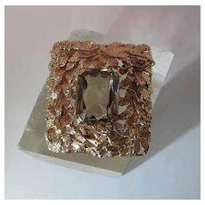 Extraordinary Vintage 18K Gold 10.5 Carat Citrine Pendant Brooch