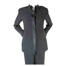 1990's Giorgio Armani Black Silk Two-Piece Suit
