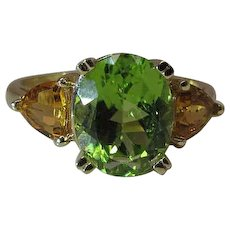 14K Yellow Gold Peridot And Citrine Ring