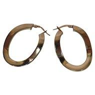 Vintage 14K Yellow Gold Wavy Hoop Earrings With Hinged Wires