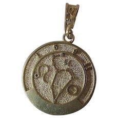 Exotic R & B Canada 14K Gold Leo Horoscope Pendant Charm With Diamond And Bail