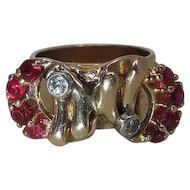 Fine Antique 14K Gold Ruby & Diamond Crescent & Shooting Star Cocktail Ring