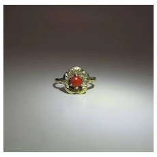 Charming Antique Victorian 12K Gold And Red Coral Buttercup Ring