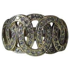 Elegant Vintage John C. Rinker 14k Yellow Gold Diamond Cocktail Ring