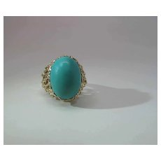 Sumptuous Vintage 14k Yellow Gold Modernist Ring With 17 Carat Persian Turquoise