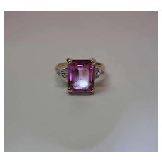 14K Yellow Gold 5.5 Carat Emerald Cut Pink Topaz Ring W/ White Topaz Side Stones
