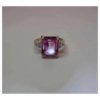 14K Yellow Gold 5.5 Carat Emerald Cut Pink Topaz Ring W/ White Topaz Side Stones