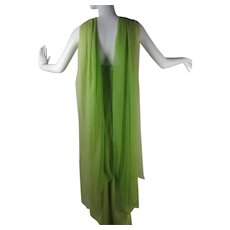 1960's Vintage Arnold Scaasi Chartreuse Silk Strapless Dress & Ombre Dyed Shawl