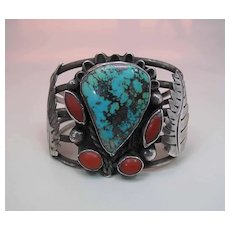 Fine Mid-Century Vintage Navajo Silver, Turquoise And Coral Cuff Bracelet Signed