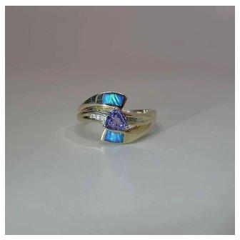 14K Yellow Gold Trilliant Cut Tanzanite Inlaid Opal And Diamond Bypass Ring