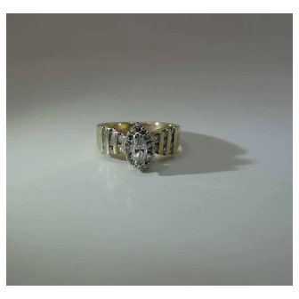Art Deco Era 14K Yellow Gold Round And Marquis Diamond Ring