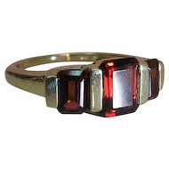 Vintage 14K Gold Emerald Cut Rhodolite Garnet Three Stone Ring