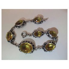 Early 20Th Century Sterling Silver And 21 Carat Natural Citrine Line Bracelet