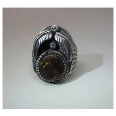Vintage Navajo Henry Mariano Sterling Silver And Fire Agate Ring