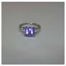 Vintage 14K White Gold Amethyst And Rock Crystal Ring Signed Kimberly