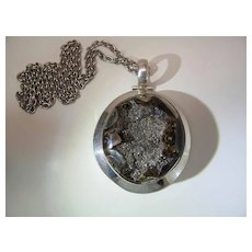 Captivating Sterling Silver, Pyrite & Petrified Wood Geode Pendant Necklace