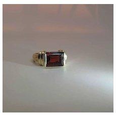 Vintage 14K Gold Step Cut 3.75 Carat Rhodolite Garnet Ring